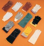 A range of protective gloves, including rigger gloves, PVC gauntlets and welding gauntlets. Larger image available.